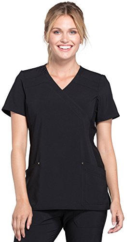 Cherokee iFlex by Women's Mock Wrap Soft Side Panel Solid Scrub Top X-Small (Side Wrap Top)
