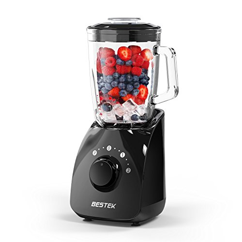 BESTEK Smoothie Blenders,350 Watts Blender for Shakes and Smoothies with 1.5L BPA Free Glass Jar,2-Speed Function,Mixer,High Speed Blender for Baby Food, Healthy Drink, 20000 RPM