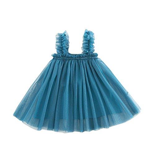 zitan Baby Girls Summer Dress, Kid Girls Solid Backless Strap Net Yarn Tutu Holiday Dresses Blue