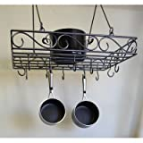 J&J Wire Pot and Pan Rack, Dark Pewter