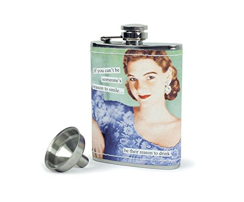 Anne Taintor Stainless Steel Hip Flask With Funnel - Reason To -