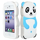 BasTexWireless Bastex Cute Silicone Character Case for Apple iPhone 4, 4s - Baby Blue, Black, White Panda Bear