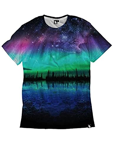 iHeartRaves Northern Lights Men's Short Sleeve Tee (4X-Large) - Back Music Light T-shirt