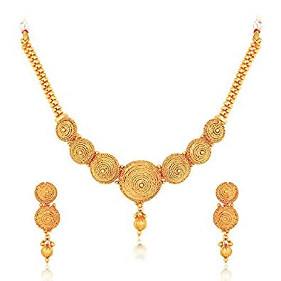 97b314247f Buy MEENAZ Gold Plated Jewellery Necklace Set with Earrings for Women and  Girls -183 Online at Low Prices in India | Amazon Jewellery Store -  Amazon.in