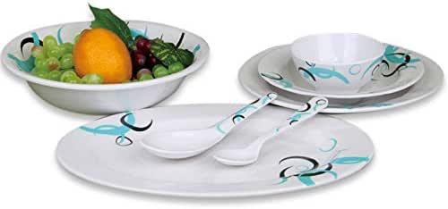 Royalford Melamine,White - Dinnerware Set