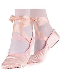 Ballet Slipper Shoes Stretch Satin Ballerinas Dance Yoga...