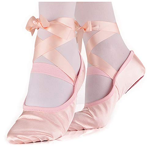 LONSOEN Ballet Slipper Shoes Stretch Satin Ballerinas Dance Yoga Flats with Pure Ribbons for Girls (Toddler/Little Kid/Big Kid SHC553 Nude CN35
