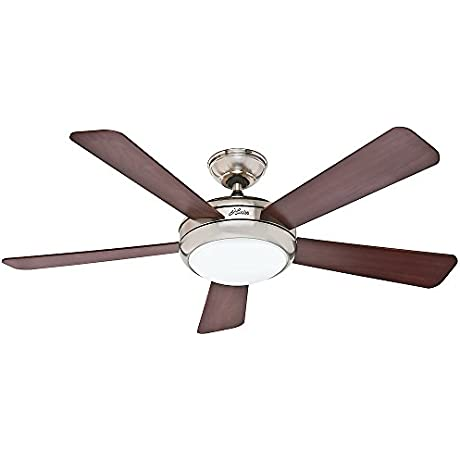 Hunter 59052 Contemporary Palermo Ceiling Fan With Five Cherry Maple Blades 52 Inch Brushed Nickel