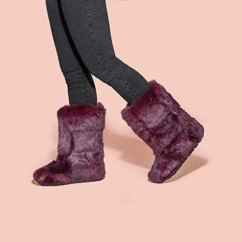 Fuchsia Rabbit Boots for Women, Mukluk Boots, Yeti Boots, Color Rabbit Fur Boots, Long Boots, Winter Boots, Girlfriend Gift, LITVIN (Rabbit Fur Mukluk)