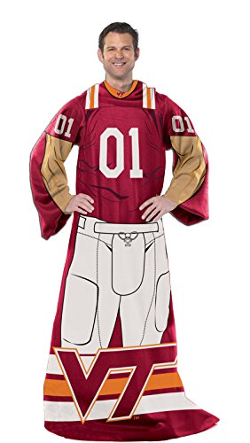 Officially Licensed NCAA Virginia Tech Hokies Full Body Player Adult Comfy Throw Blanket, 48