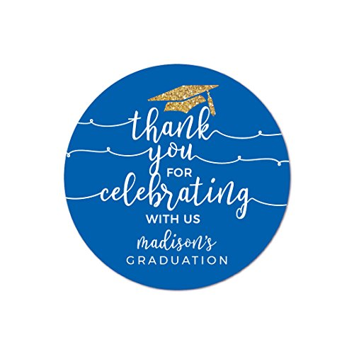 Andaz Press Royal Blue and Gold Glittering Graduation Party Collection, Personalized Round Circle Label Stickers, Thank You for Celebrating With Us, 40-Pack, Madison