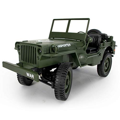 WoCoo Remote Control Cars,RC Open Car Military Jeep Off-Road Vehicle 2.4Ghz 4WDRock Crawler RTR Radio Control Car-Gifts(Army Green) from WoCoo