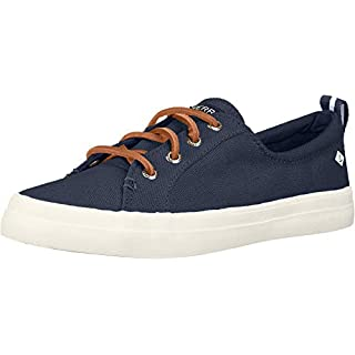 Sperry Womens Crest Vibe Linen Sneaker, Navy, 5