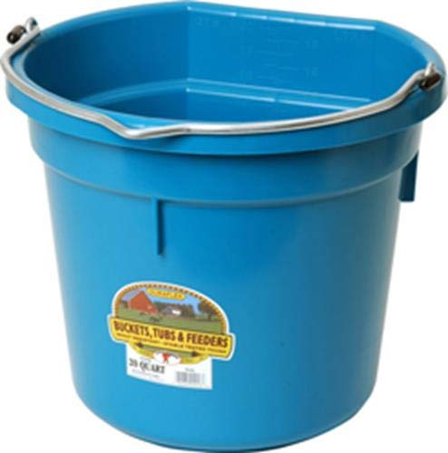 Little Giant Flat-Back Dura-Flex Plastic Bucket, 20-Quart, Teal