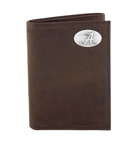 NCAA Alabama Crimson Tide Light Brown Crazyhorse Leather Trifold Concho Wallet, One Size