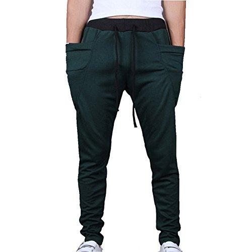 Men's Slim Fit Casual Jogging Harem Pants Medium Green