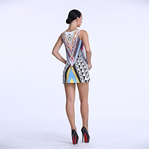 DOLDOA Mujeres sin mangas de impresión Partido Cocktail Beach Sundress Mini vestido corto Multicolor