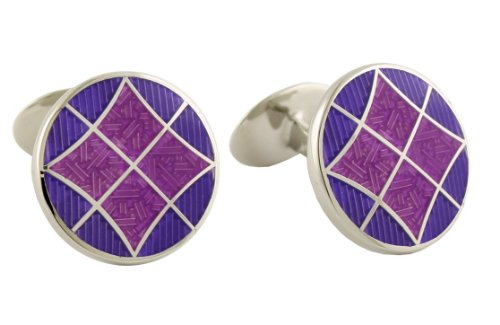 - David Donahue Sterling Silver Round Cufflinks - Light Purple/Violet (H95544102)
