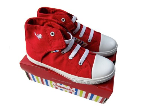 Teenies2TEENZ - Baskets montantes garçon/fille Chipmunks en toile Pointure 20-31 - 20.5, Rouge