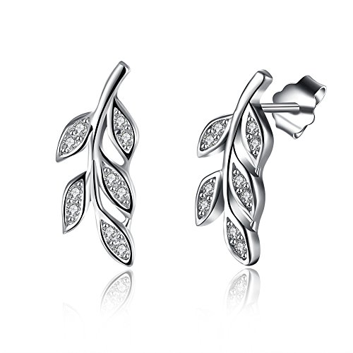 Maxilei Sterling Silver Olive Leaf Cubic Zirconia (CZ) Stud Earrings For Women Or Girls