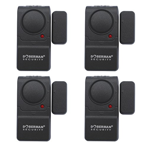 Doberman Security SE-0129-4PK Mini Entry Defender with Chime - 4 Pack (Black) by Doberman Security