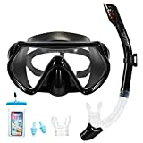 Supertrip Snorkel Set-Snorkeling Mask Diving Goggles Mask Dry Snorkel Set with 2 Mouthpieces 1 Waterproof Phone Pouch and 2 Earplugs for Adults and Youth Color Black