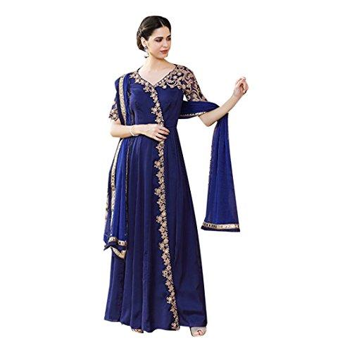 Ricamo Eid Kameez Festival ETHNIC Designer Blue Dress 2848 Salwar Georgette lavoro EMPORIUM Rakhi Anarkali donne musulmane CvXwFqBWw