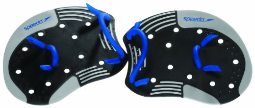 Speedo I.M. Tech Training Swim Paddles, Black/Blue, Small/Medium