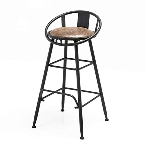 ABARB Industrial Style Barstool | High Stool with Iron Back PU Cushion for Bar Kitchen Restaurant Coffee Shop Home Lounge Chair (Color : Brown, Size : - Stool Oxford Bar 30