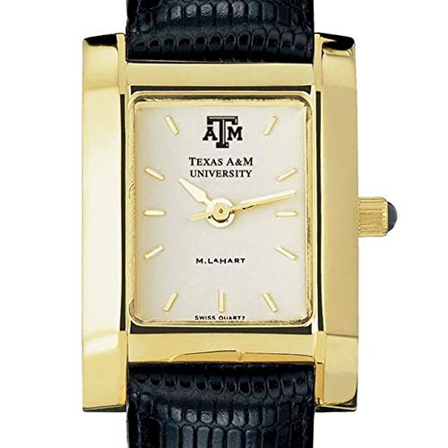 M. LA HART Texas A&M Women's Gold Quad Watch with Leather Strap