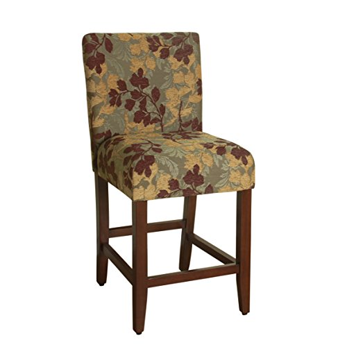 - HomePop Upholstered Counter Height Barstool, 24-inch, Brown and Sage Chenille