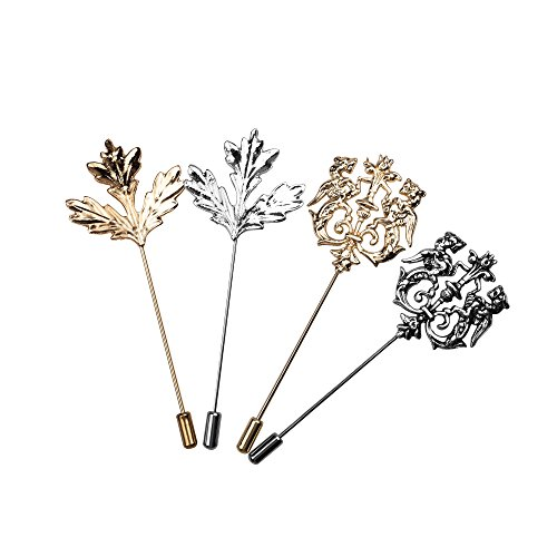 (COSMOS Pack of 4 Men Metal Brooch Pin Maple Leaf Lapel Stick Pin Badge for Suit Dress)