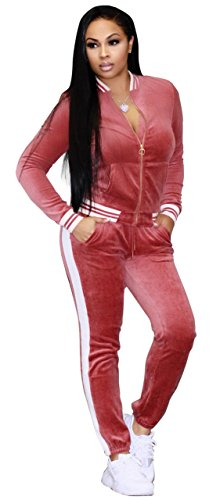 Felicity Young Women's Athletic Soft Velour Velvet Long Sleeve Zip Up Sweatshirt Jacket and Bodycon Sweat Pants Set Tracksuit Pink, Medium
