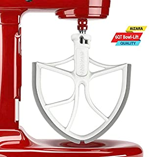 Flex Edge Beater for KitchenAid Bowl-Lift Stand Mixer Attachment 6 Quart - Coated Flat Beater Blade with Silicone Edges - Useful Mixer Accessory(Grey)