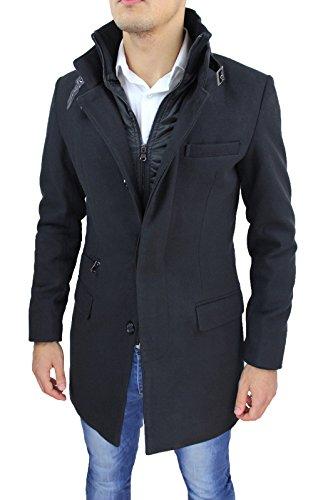 4d92807170747 Cappotto Uomo Nero Sartoriale Casual Elegante Slim Fit Giaccone Soprabito  Invernale con Gilet Interno  Amazon.it  Abbigliamento