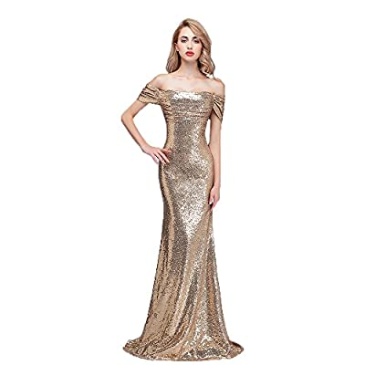 Honey Qiao Sequins Off The Shoulder Bridesmaid Dresses Long Pleats Prom Party Gowns