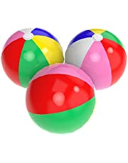 Inflatable Beach Balls, Acevery 24'' Rainbow Beach Balls- Thickening Reinforcement Version Beach Pool Party Toys (3 Pack)