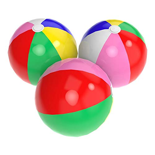 Acevery 24'' Rainbow Beach Balls 3 Pack Inflatable Beach Balls Beach Pool Party Toys -