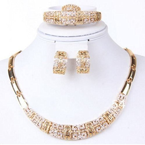 Fashion Jewelry Set Women 18k Gold Plated Necklace Bracelet Earrings Present Set by (Impression Bridal Wear)