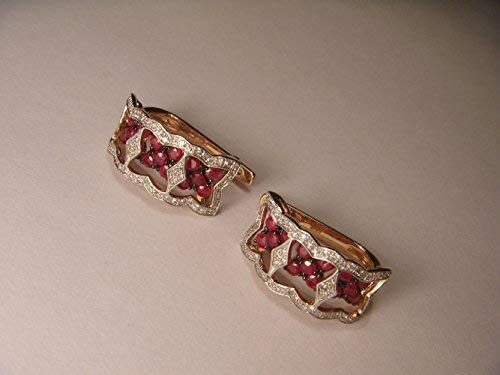Beautiful 14K Pink Rose Gold Diamond Ruby Flower Huggie Earrings