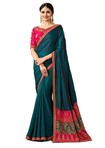 Indian Ethnic Bollywood Saree Party Wear Pakistani Designer Sari Wedding, Saree for Womens (Turquiouse)