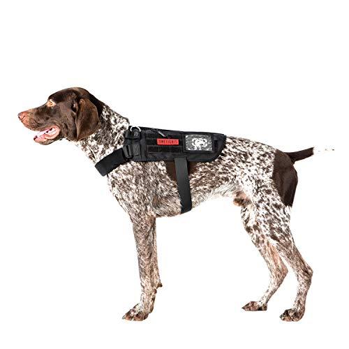 OneTigris Apollo 09 Tactical Dog Harness & Assistance Harness Compatible Vest & Dog Cape with Removable Neck Strap for Service Dog or Pet Dog (Black, Medium: Neck 16