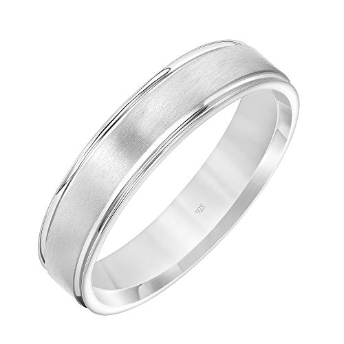 Brilliant Expressions .925 Sterling Silver Brushed Satin Flat Wedding Band with Polished Stepped Edges, 5mm, Size 9