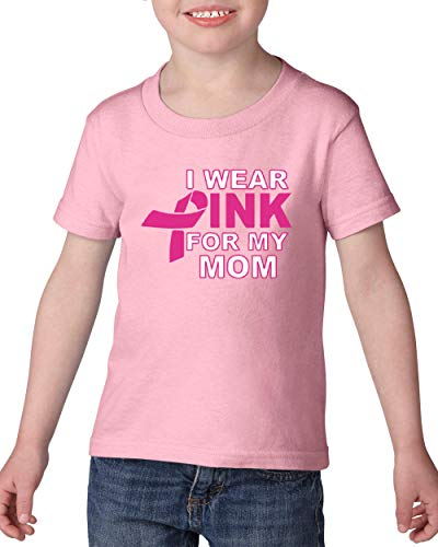 (NIB I Wear Pink My Mom Breast Cancer Awareness Toddler Heavy Cotton T-Shirt Kids Tee Clothing)