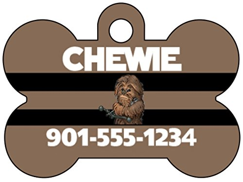 Disney Star Wars Chewbacca Pet Id Tag for Dogs & Cats Personalized w/ Your Pet's Name & Number ()