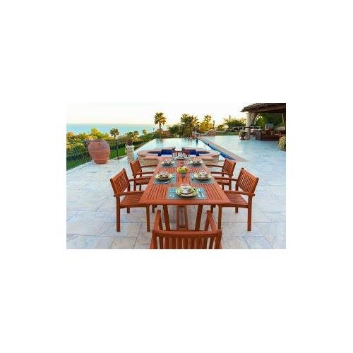 Malibu V232SET5 Eco-Friendly 7 Piece Wood Outdoor Dining Set with Rectangular Extension Table and Stacking (Eucalyptus Patio Table)