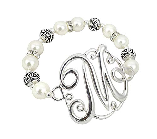 - O3 Monogram Silver Tone Charm 6mm Glass Pearl Body Stretch Bracelet