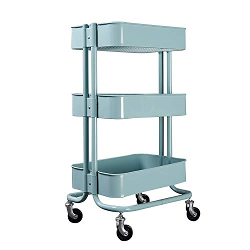 walsport 3-Tier Rolling Cart Metal Mesh Storage Organize Utility Cart for Kitchen Bathroom, Blue