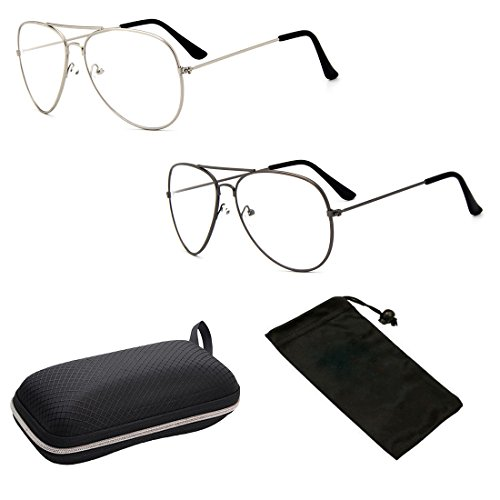 (CPS 2 Pack Metal Wire Frame Aviator Classic Retro Shape Reading Glasses Readers for Men Women + Free Hard Case (2 Pack, 2.25))