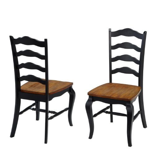 - French Countryside Oak/Black Pair of Chairs by Home Styles